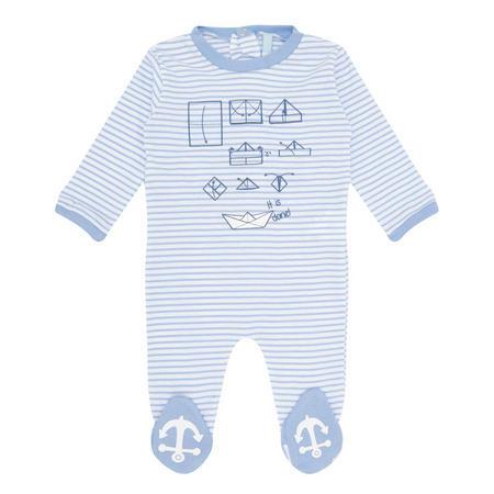 Babies Stripe Printed Romper Blue