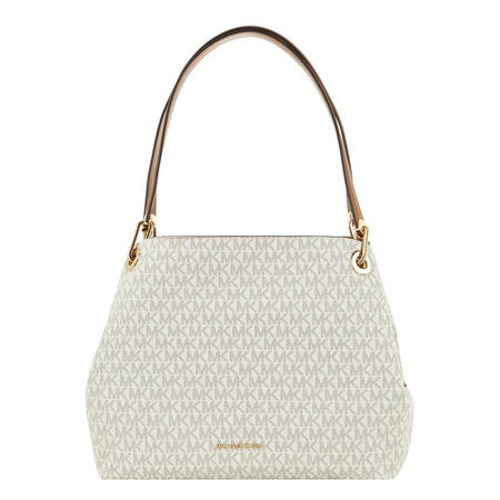 Raven Logo Print Shoulder Bag White
