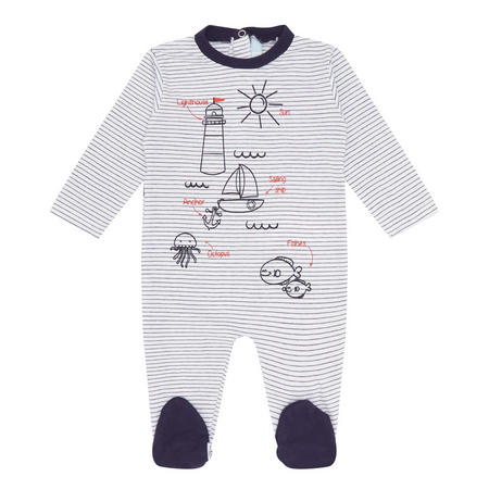 Babies Stripe Printed Romper Navy