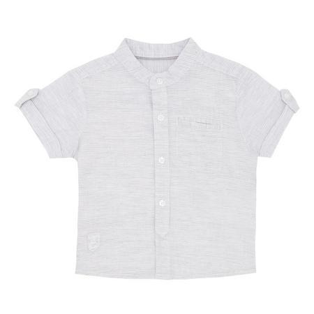 Babies Stripe Print Short Sleeve Shirt Grey