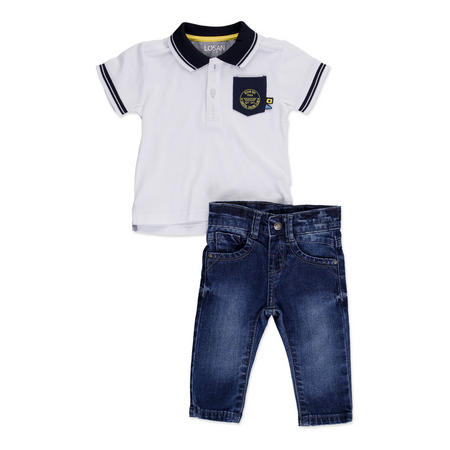 Babies Polo And Jeans Set White