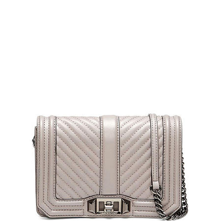 Chevron Quilted Small Love Crossbody Bag Grey