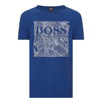 Leaf Print Logo T-Shirt Blue