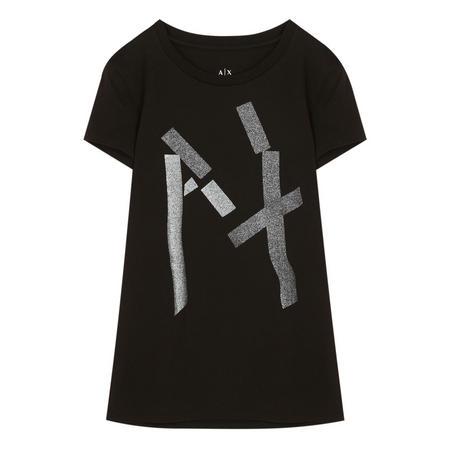 Glitter Tape Logo T-Shirt Black