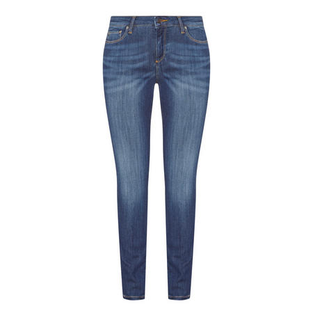 Mid-Rise Skinny Jeans Blue