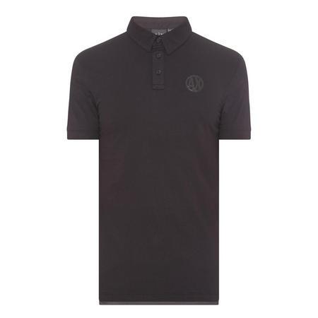 Mesh Panel Polo Shirt Black
