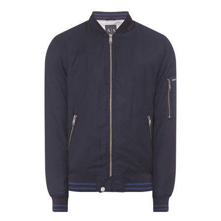 Quilted Bomber Jacket Navy
