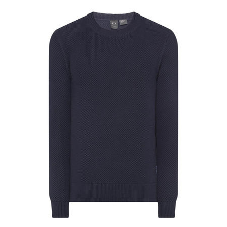 Textured Crew Neck Sweater Navy