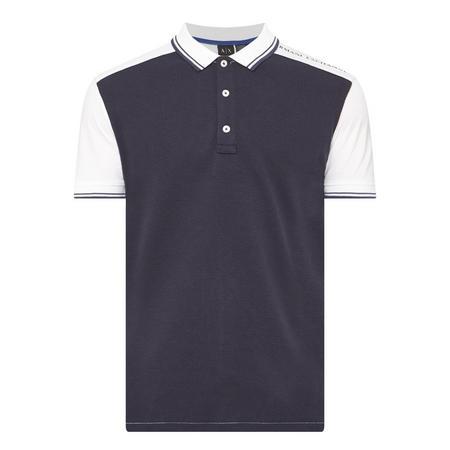 Logo Shoulder Textured Polo Shirt Navy