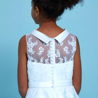 Floral Embroidered Communion Dress White