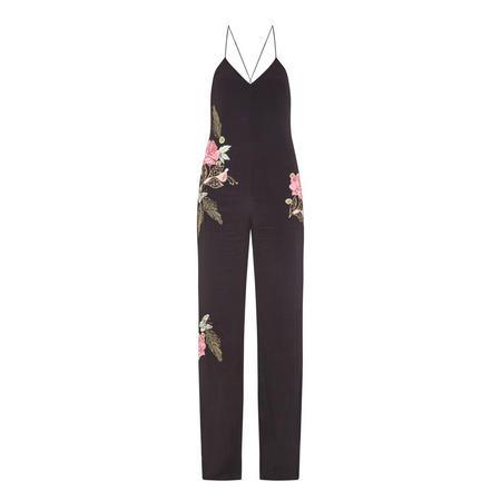 Floral Motif Jumpsuit Black