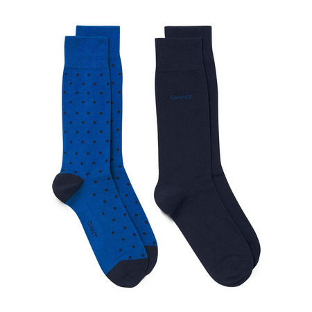 Two-Pack Dot And Solid Socks Blue