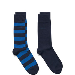 Two-Pack Bar Stripe And Solid Socks Blue