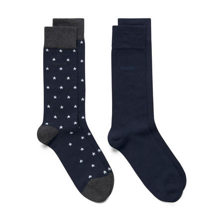 Two-Pack Star And Solid Socks Navy