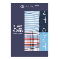 Two-Pack Stripe & Check Boxer Shorts Orange