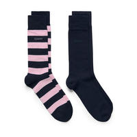 Two-Pack Bar Stripe And Solid Socks Pink