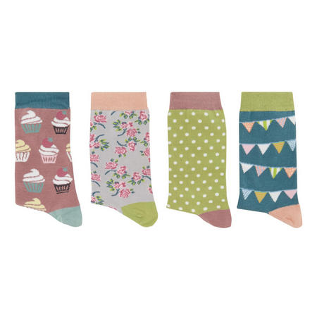 Four-Pack Patterned Bamboo Socks Multicolour