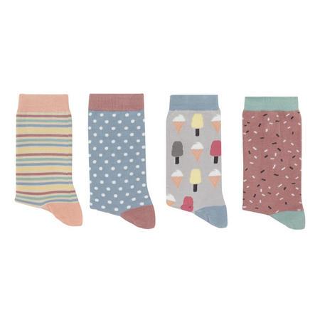 Four-Pack Patterned Bamboo Socks Multicolour