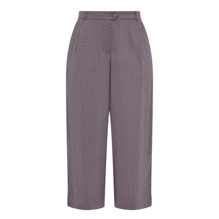 Cropped Spot Motif Trousers Grey