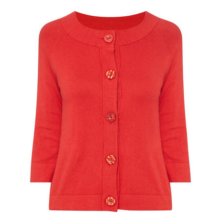 Perforated Collar Cardigan Red