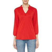 Collared V-Neck Top Red