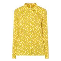 Brushed Dot Print Top Yellow