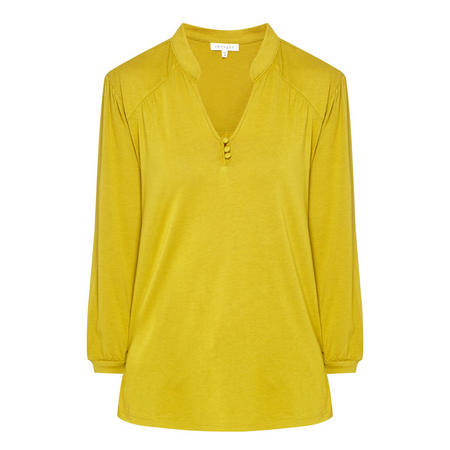 Collared V-Neck Top Yellow