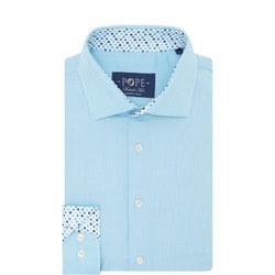 Textured Trim Detail Formal Shirt Blue