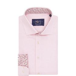 Textured Trim Detail Formal Shirt Pink