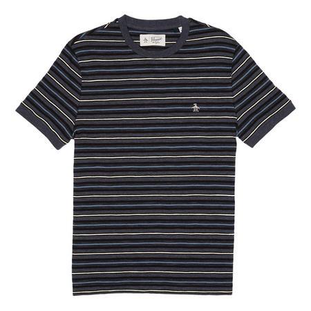 Heathered Slub Yarn Dye Striped T-Shirt Blue