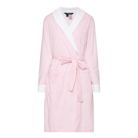 Striped Fleece Robe Pink