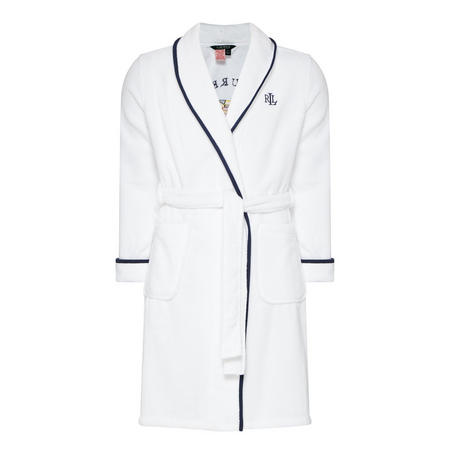 Embroidered Terry Robe White
