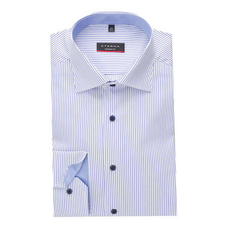 Satin Stripe Formal Shirt Blue