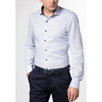 Textured Grid Pattern Formal Shirt Blue