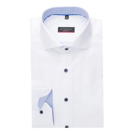 Pattern Trim Formal Shirt White