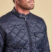Leather Collar Quilted Jacket Blue