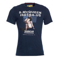 Steve McQueen Military Flag T-Shirt Navy
