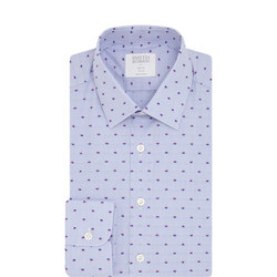 Slim Fit Dot Pattern Shirt Blue