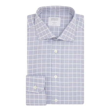 Check Cotton Shirt Blue
