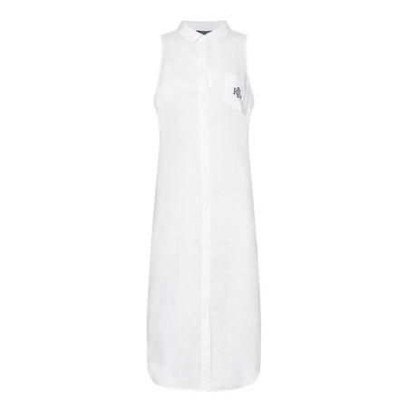 Linen Sleeveless Nightshirt White