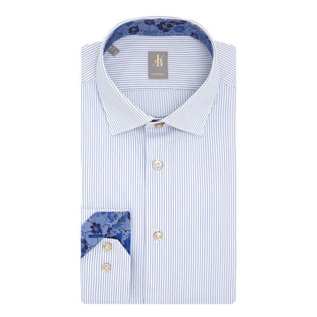 Stripe Custom Fit Shirt Blue