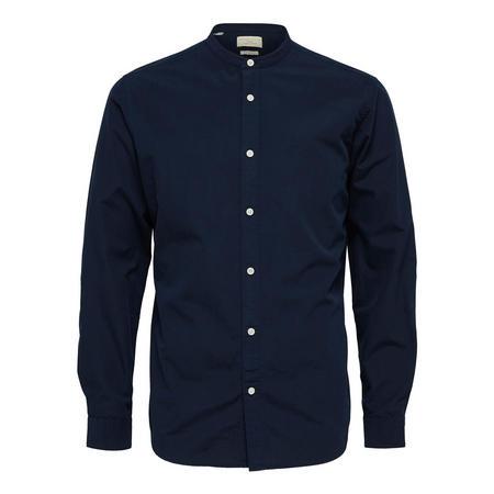 China Collar Long Sleeve Shirt Navy