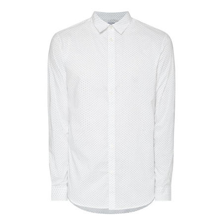 Dot Print Formal Shirt White