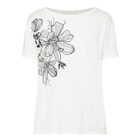 Embroidered Flower T-Shirt White