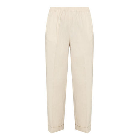 Cropped Linen Trousers Beige