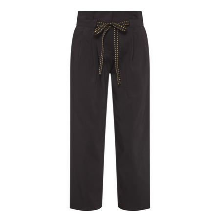 High-Waisted Cropped Trousers Black