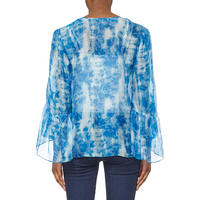 Long Sleeve Printed Blouse Blue