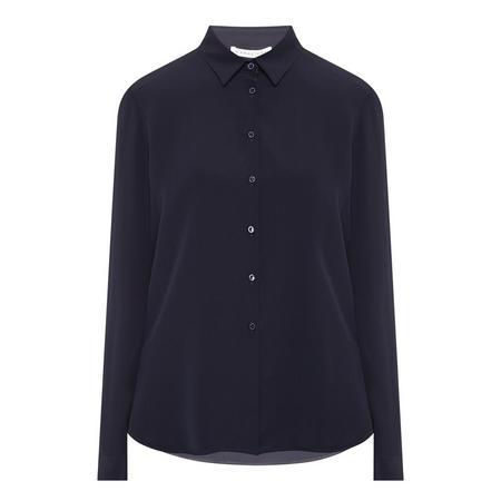 Long Sleeve Silk Shirt Navy