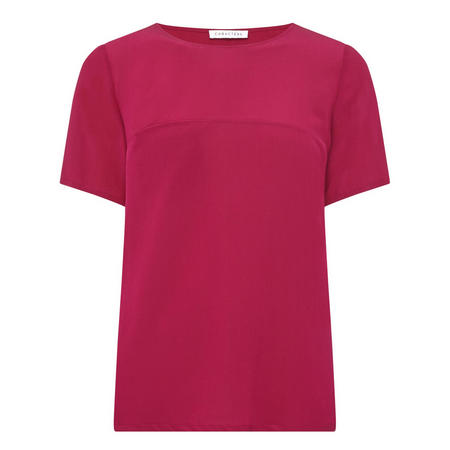 Short Sleeve Silk Top Pink