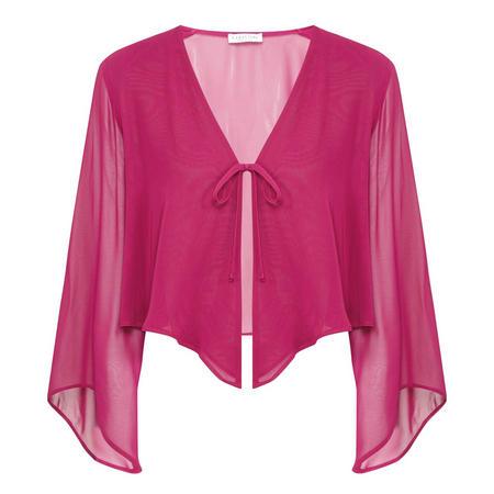 Chiffon Tie-Fastening Jacket Pink